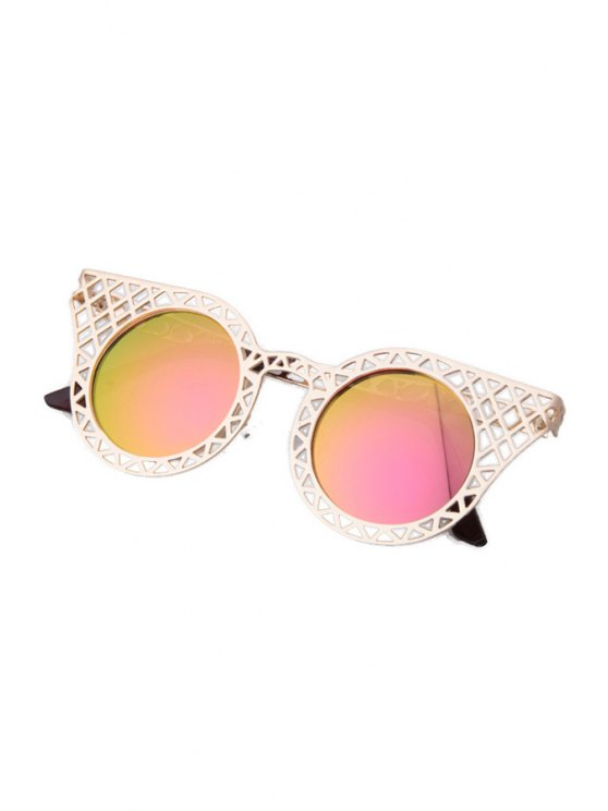 Hollow Out Golden Mesh Sunglasses - PINK  Mobile