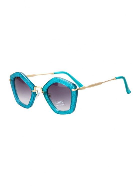 lady Glitter Powder Pentagonal Frame Sunglasses - LAKE BLUE