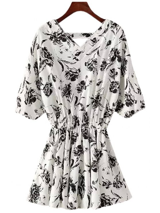 women Floral Print Elastic Waist Half Sleeve Dress - WHITE ONE SIZE(FIT SIZE XS TO M)