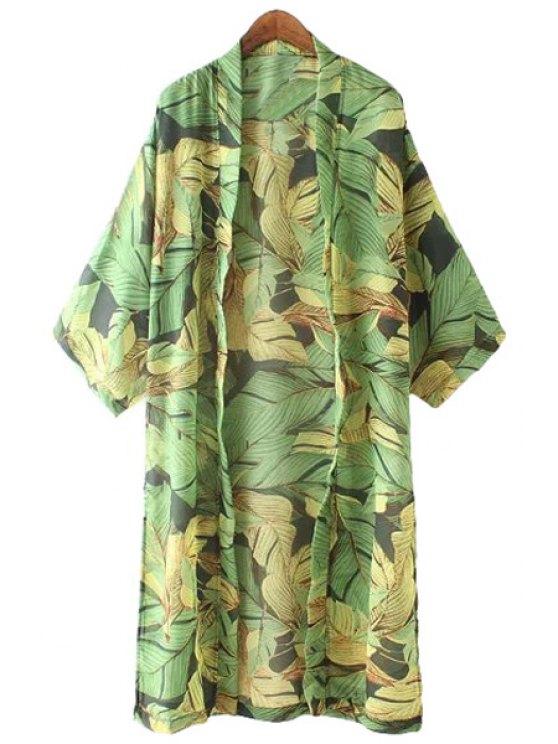 best Collarless Leaves Print Long Sleeve Blouse - GREEN S