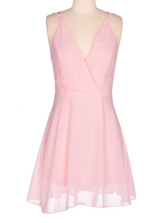 fancy Pink Spaghetti Strap Open Back Dress - PINK S