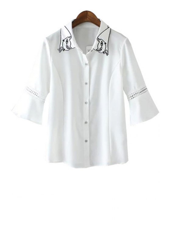 hot Cat Pattern Lace Splicing Half Sleeve Shirt - WHITE S