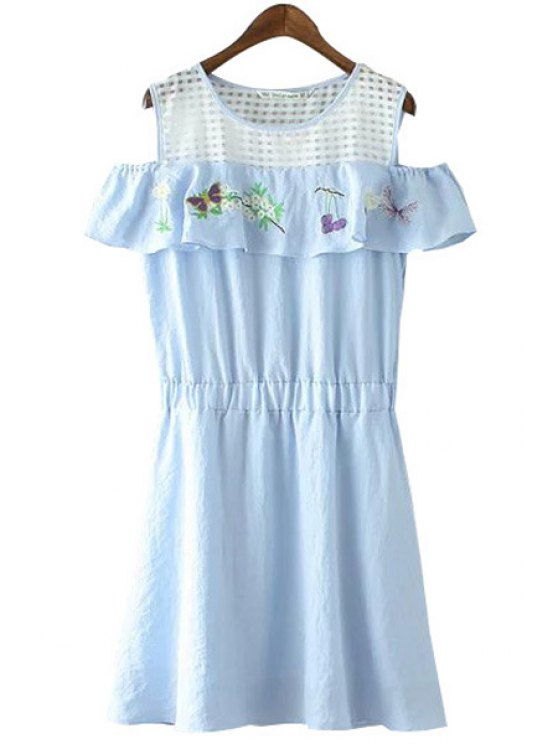 lady Floral Butterfly Embroidery Off-The-Shoulder Dress - BLUE S