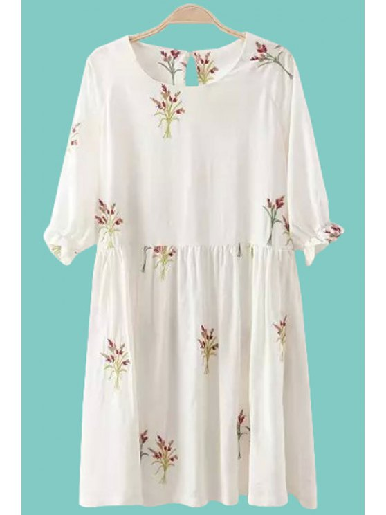 outfits Tiny Floral Embroidery Half Sleeve Dress - WHITE S