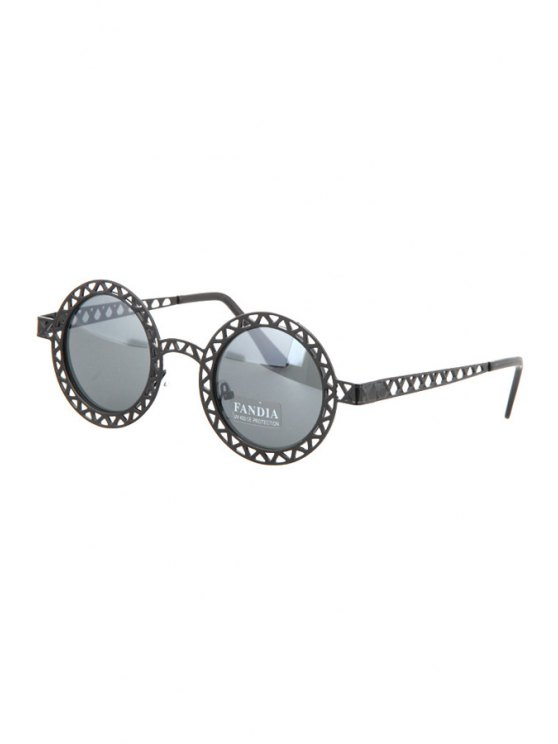 shop Hollow Out Zig Zag Round Sunglasses - BLACK