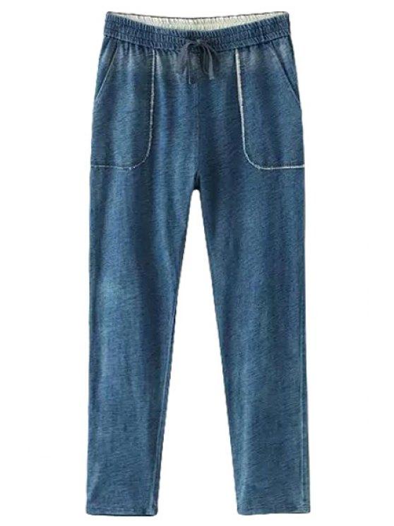 shops Bleach Wash Pocket Elastic Waist Jeans - BLUE S