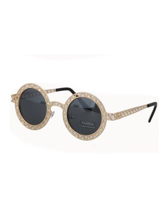 women Hollow Out Zig Zag Color Block Sunglasses - BLACK