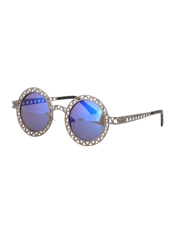 women's Hollow Out Zig Zag Alloy Sunglasses - GUN METAL