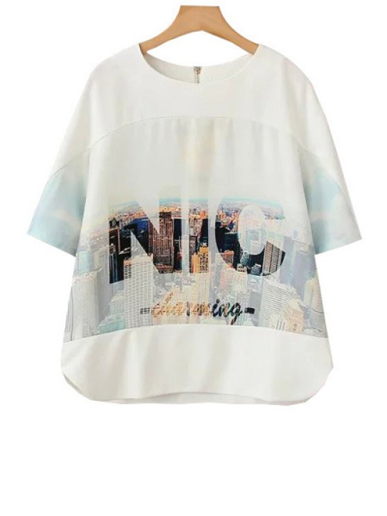 outfit Letter Building Print Short Sleeve T-Shirt - WHITE S