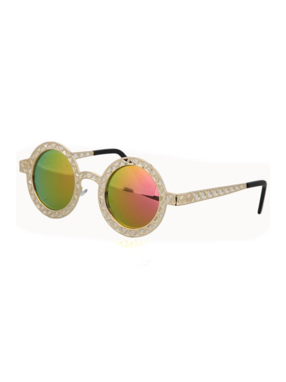 lady Hollow Out Zig Zag Discoloration Sunglasses - PINK