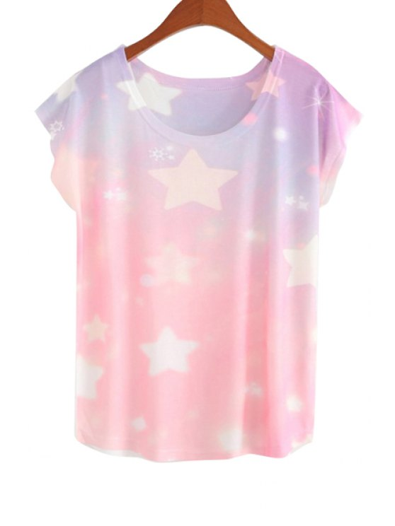 outfits Stars Pattern Short Sleeve T-Shirt - COLORMIX ONE SIZE(FIT SIZE XS TO M)
