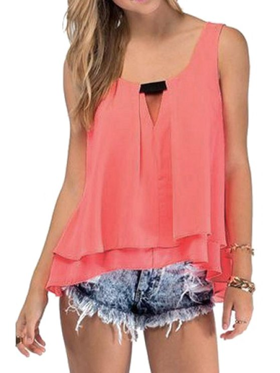womens Chiffon Solid Color Tank Top - PINK S