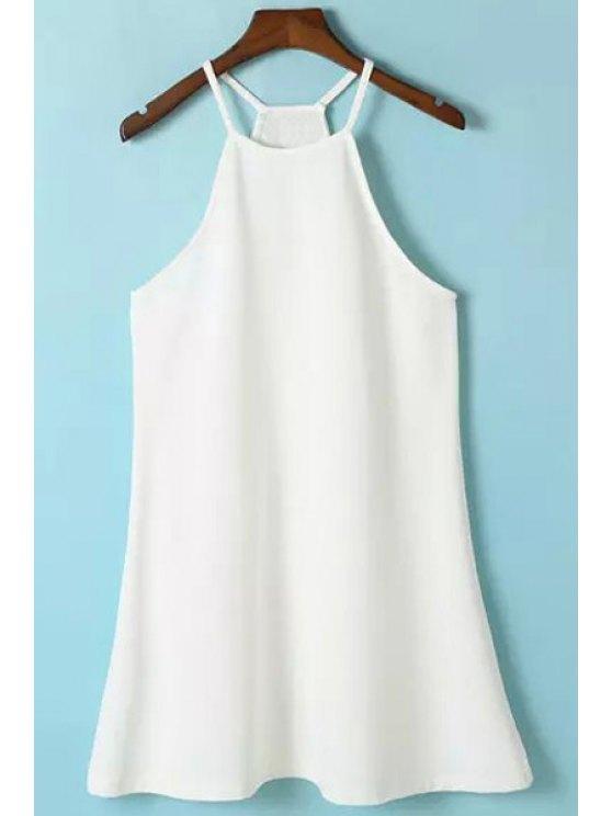 trendy Solid Color Spaghetti Strap Sleeveless Dress - WHITE S