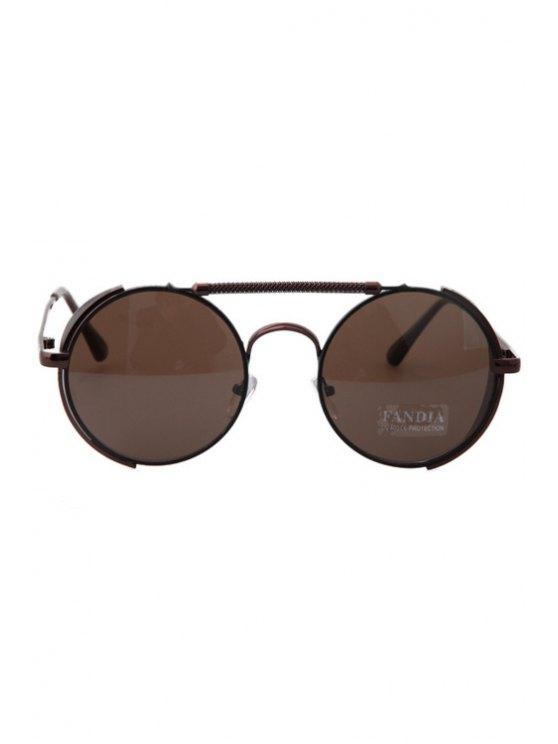 hot Chain Alloy Frame Color Block Sunglasses - BRONZE-COLORED