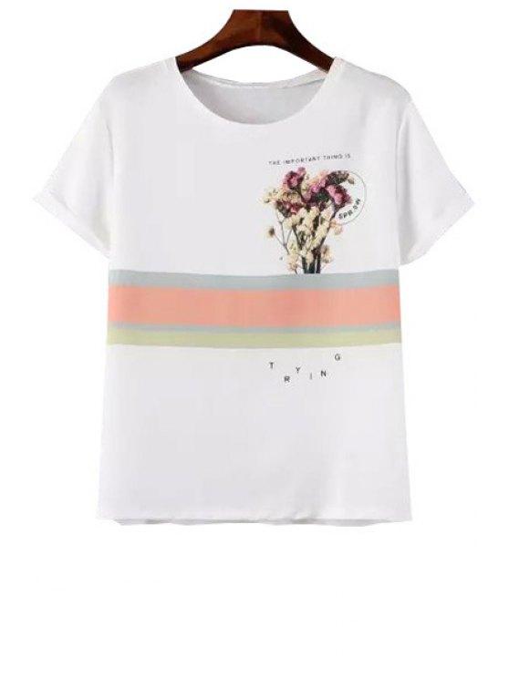 shops Floral Stripe Print Short Sleeve T-Shirt - WHITE S