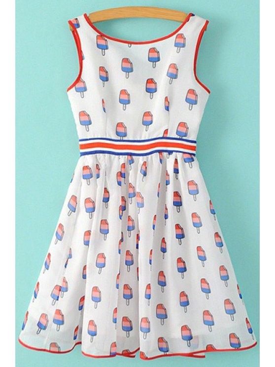 shops Ice Cream Print Sleeveless Dress - WHITE S