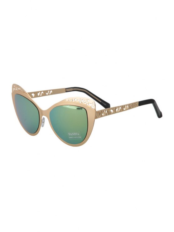 latest Hollow Out Butterfly Shape Frame Sunglasses - YELLOW