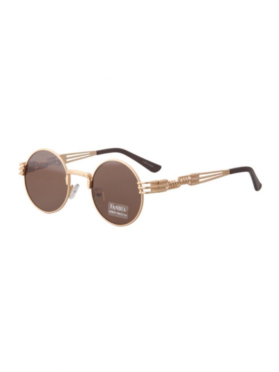 trendy Alloy Round Frame Sunglasses - TEA-COLORED