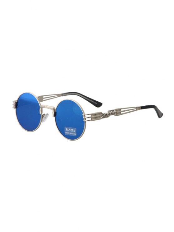 chic Alloy Round Silver Frame Sunglasses - BLUE