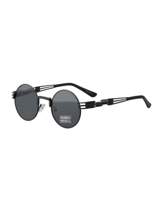 unique Alloy Round Black Frame Sunglasses - BLACK