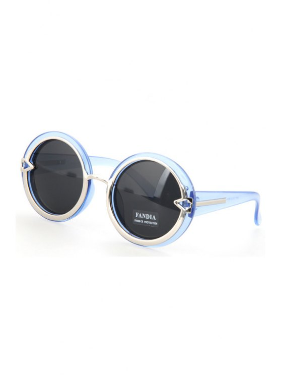 sale Alloy Splice Round Transparent Frame Sunglasses - BLUE