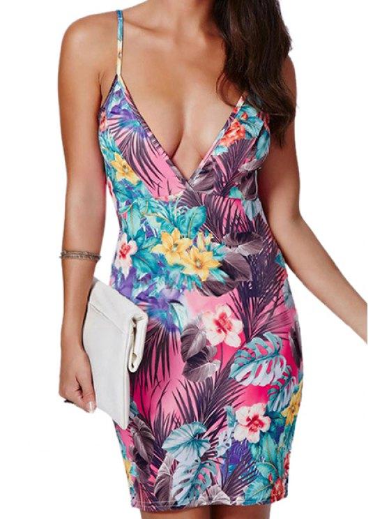 outfit Full Floral Spaghetti Strap Bodycon Dress - PURPLE M
