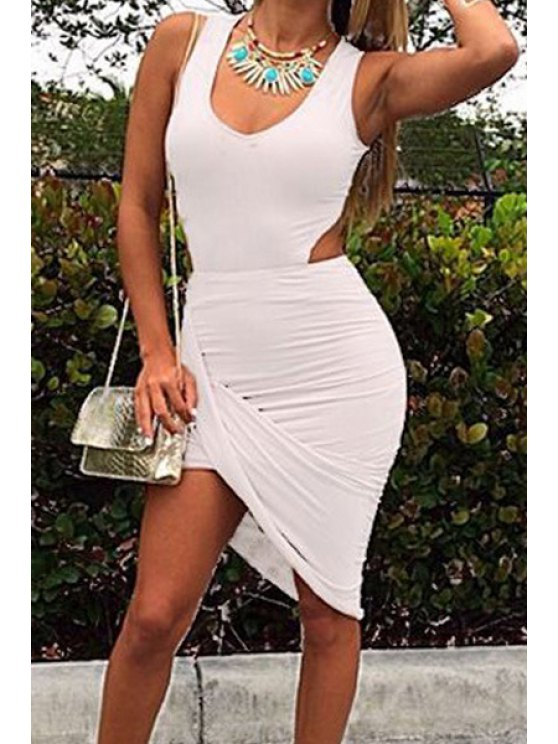 chic V-Neck Solid Color Sleeveless Bodycon Dress - WHITE S