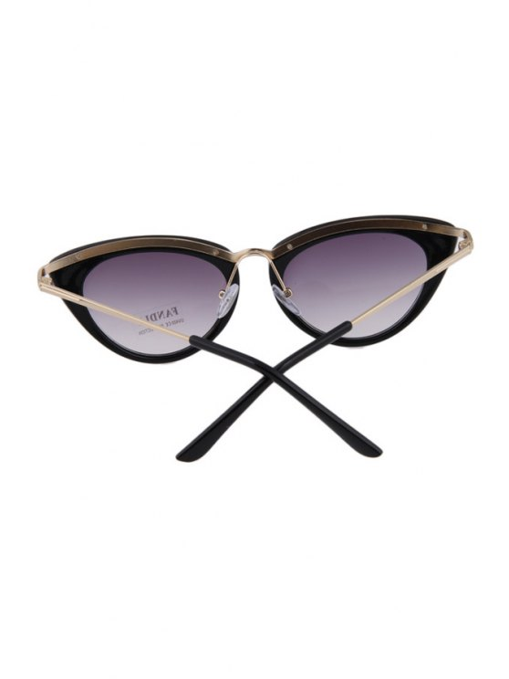 Butterfly Wings Shape Solid Color Frame Sunglasses - BLACK  Mobile