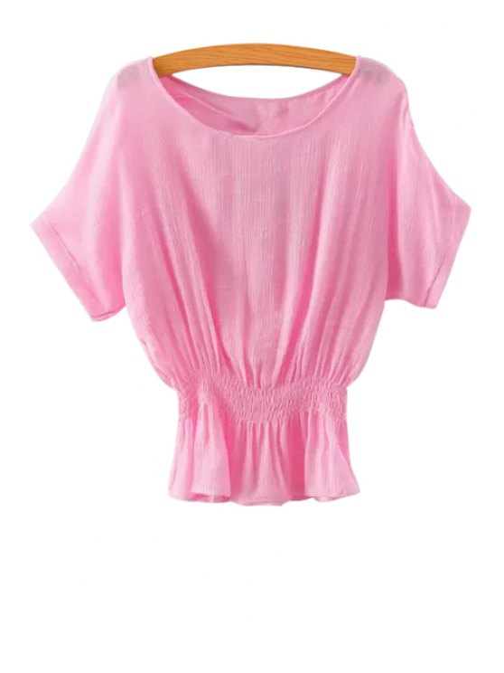 buy Solid Color Elastic Short Sleeve T-Shirt - PINK S