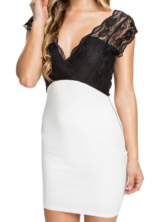 shop Lace Splicing Plunging Neck Bodycon Dress - WHITE AND BLACK M