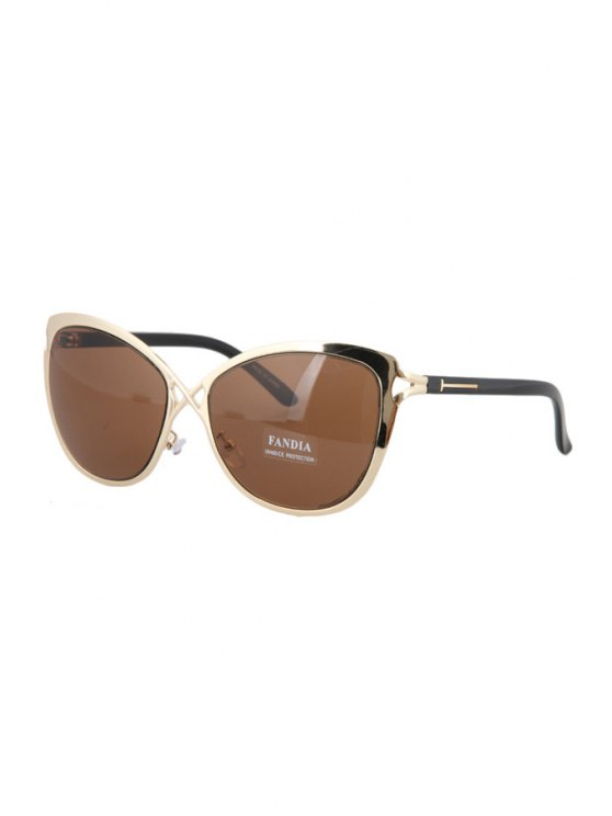 Hollow Out Golden Cross Sunglasses - TEA-COLORED  Mobile