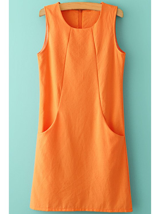 women Solid Color Pocket Splicing Sleeveless Dress - ORANGE S