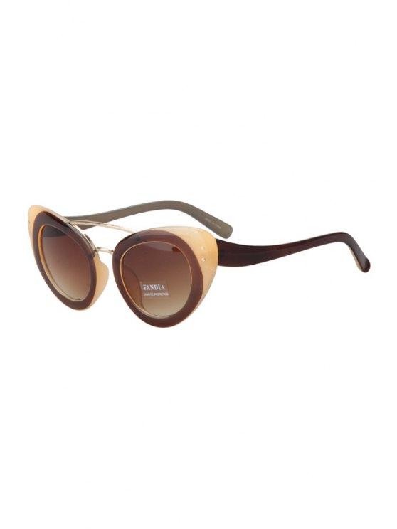 trendy Color Block Butterfly Wings Shape Sunglasses - COFFEE