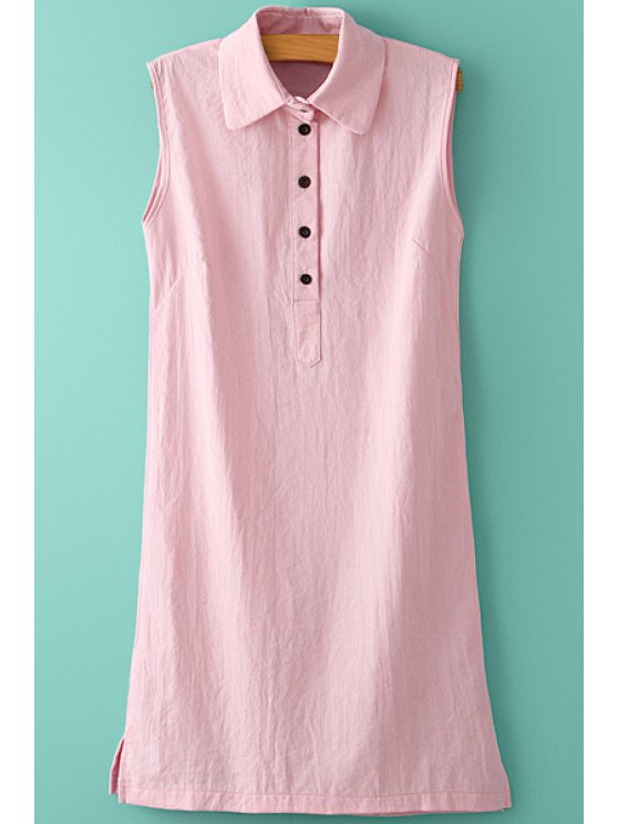 new Turn-Down Collar Solid Color Sleeveless Dress - PINK S