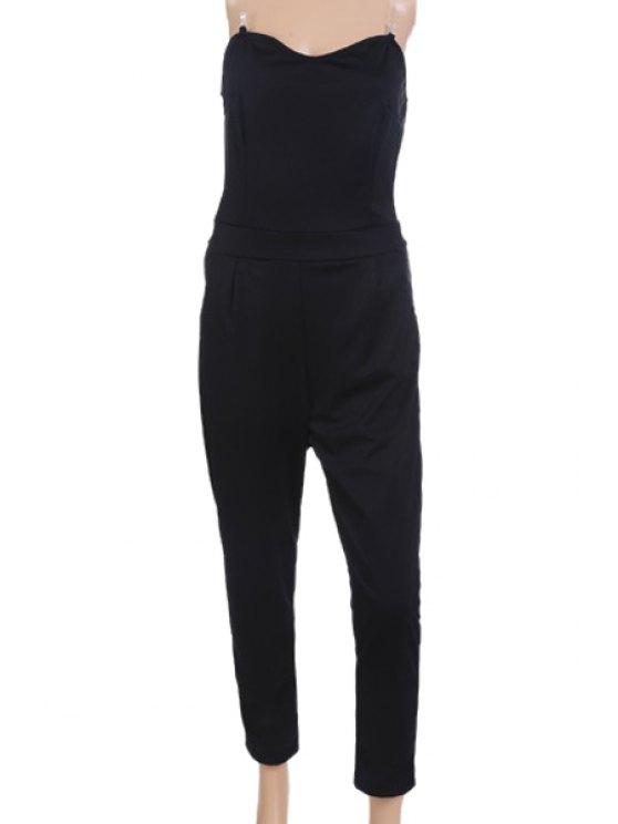 affordable Solid Color Strapless Jumpsuit - BLACK S