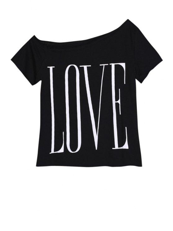 women One-Shoulder Letter Print T-Shirt - BLACK S