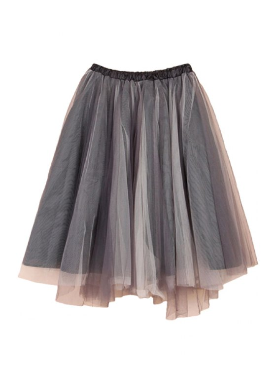 women Voile Splicing Multi-Layered Skirt - GRAY XL