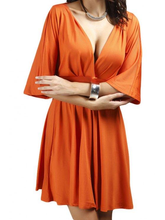 fashion Half Sleeve Orange A-Line Dress - ORANGE S