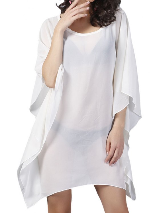 ladies White Bat-Wing Sleeve Dress - OFF-WHITE ONE SIZE(FIT SIZE XS TO M)