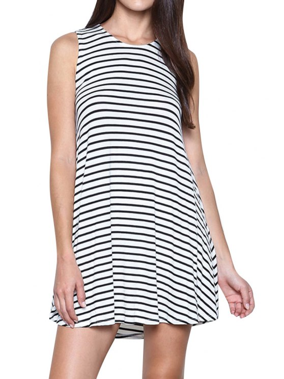 ladies Cut Out A-Line Stripes Dress - WHITE AND BLACK S