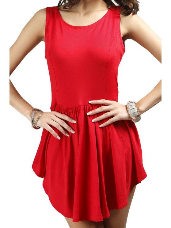 shop Scoop Neck A-Line Solid Color Sundress - RED S