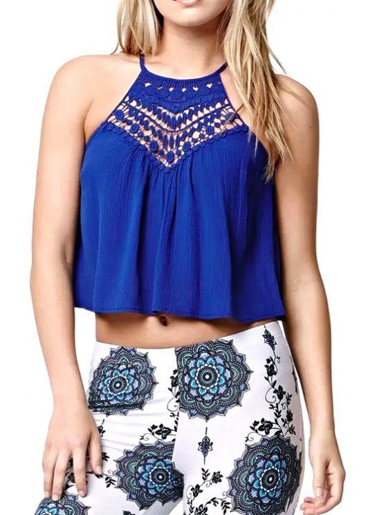 affordable Crochet Flower Lace Splicing Crop Top - BLUE L