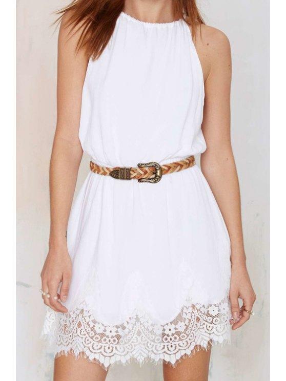 new Spaghetti Strap Off-The-Shoulder Lace Spliced Dress - WHITE S