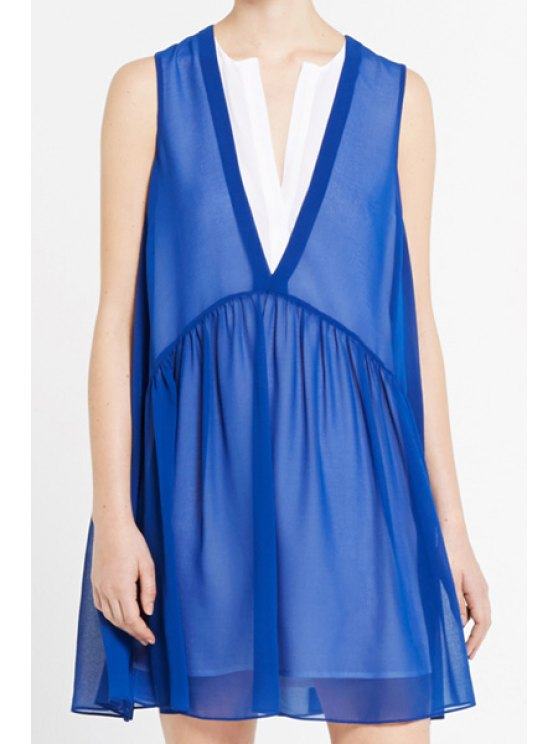 fancy Stylish V-Neck Sleeveless Chiffon Spliced A-Line Women's Faux Twinset - BLUE ONE SIZE(FIT SIZE XS TO M)