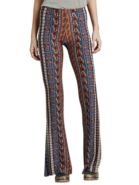 womens Floral Print Boot Cut Pants - COLORMIX S