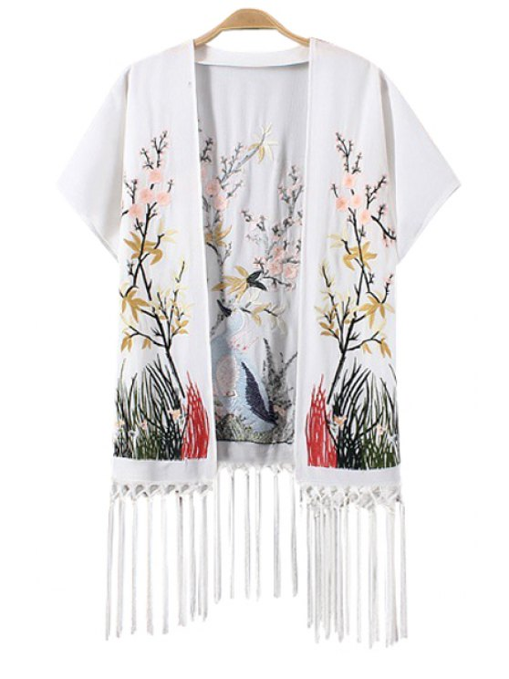 sale Floral Animal Embroidery Fringe Kimono - WHITE S