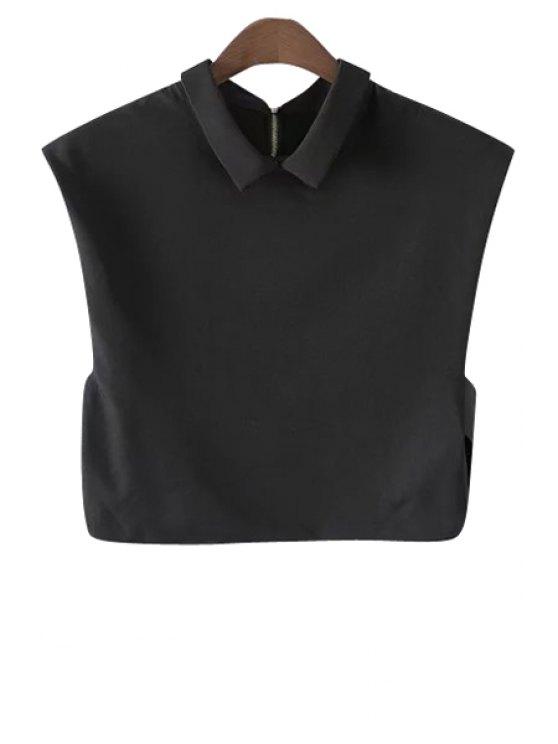 affordable Back Zipper Side Slit Crop Top - BLACK S
