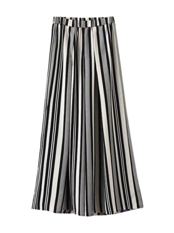 best Black White Stripe Wide Leg Pants - COLORMIX S