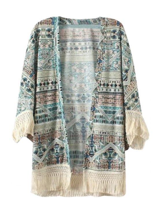 women's Print Fringe Long Sleeve Kimono - COLORMIX S