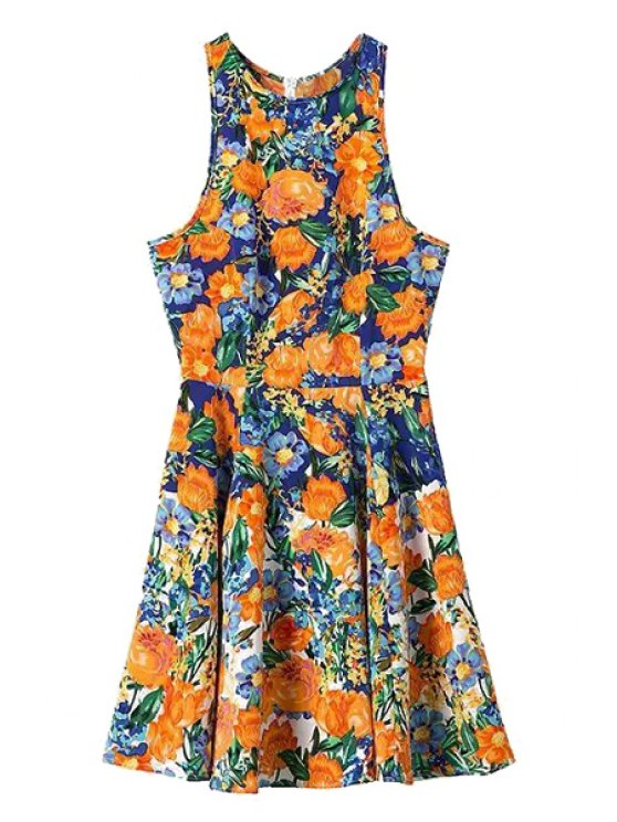 new Orange Floral Print Sleeveless Dress - COLORMIX S